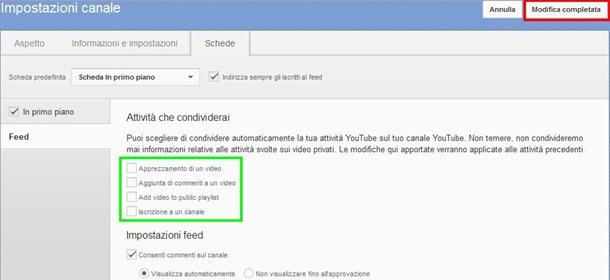 Opzioni Attività che condividerai YouTube