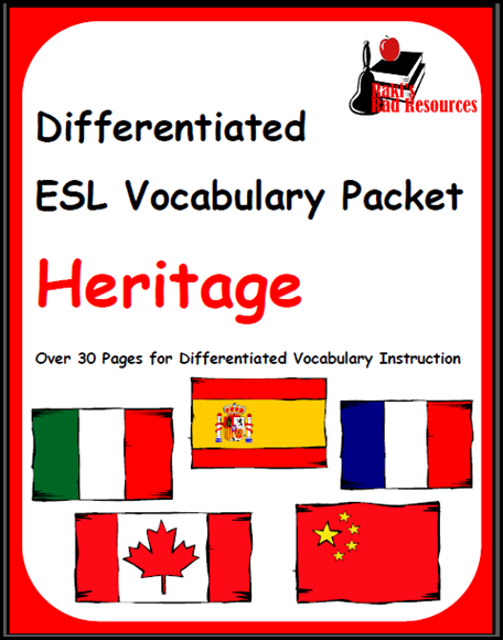 Free download - differentiated vocabulary packet on student heritage for english language learners from Raki's Rad Resources.