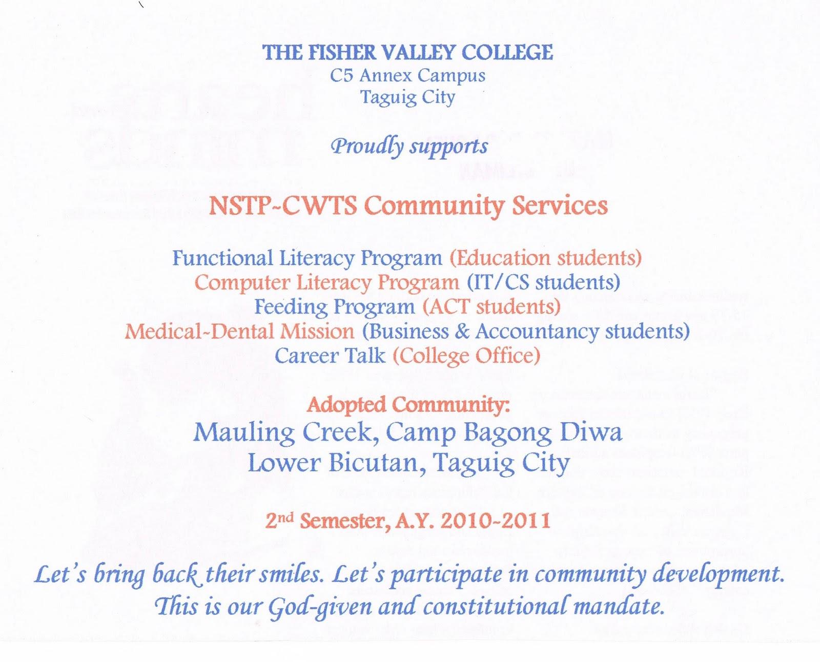 Nstp community service essay essay for nstp allielush wordpress com nstp towards quality service training essay dissertation extension letter yadclub Image collections