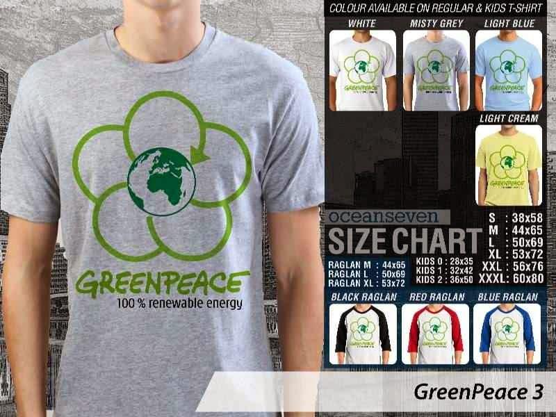 KAOS Cinta Bumi GreenPeace 3 | KAOS Selmatkan Bumi greenpeace distro ocean seven
