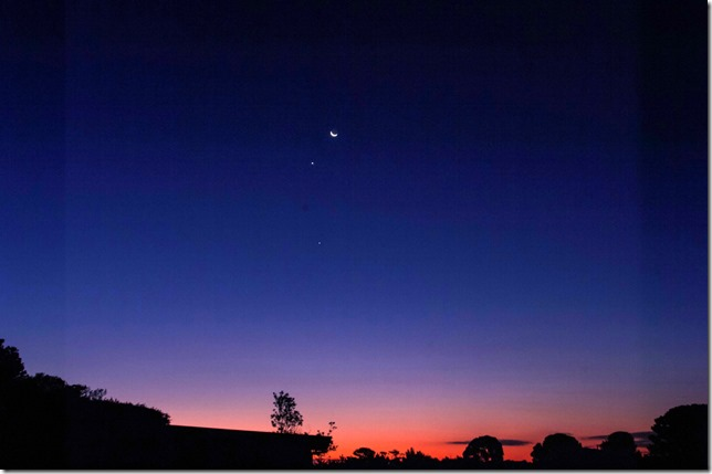 the moon & venus at the blue hour
