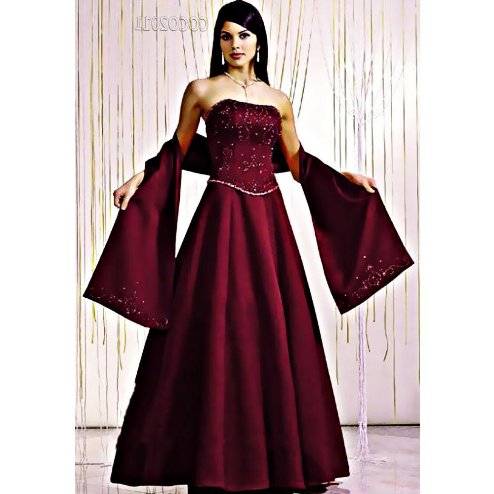 Classic wine red satin beaded