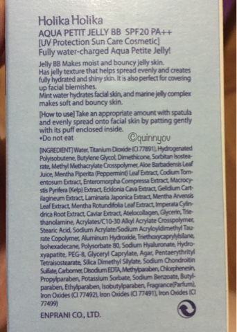 The infamous Holika Holika Aqua Petit Jelly BB Cream ingredients