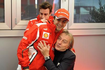 Лука ди Монтедземоло обнимает Фелипе Массу на Ferrari Finali Mondiali в декабре 2012