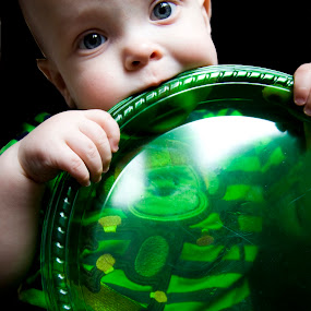 Brody Monkey by Brittany Humphrey - Babies & Children Babies ( birthday, plastic, green, plate, goofy, eating, baby, party, toddler, monkey )