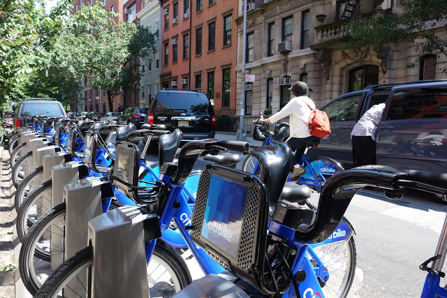 Citi Bikes lined up at a station on Washington Place in the West Village.