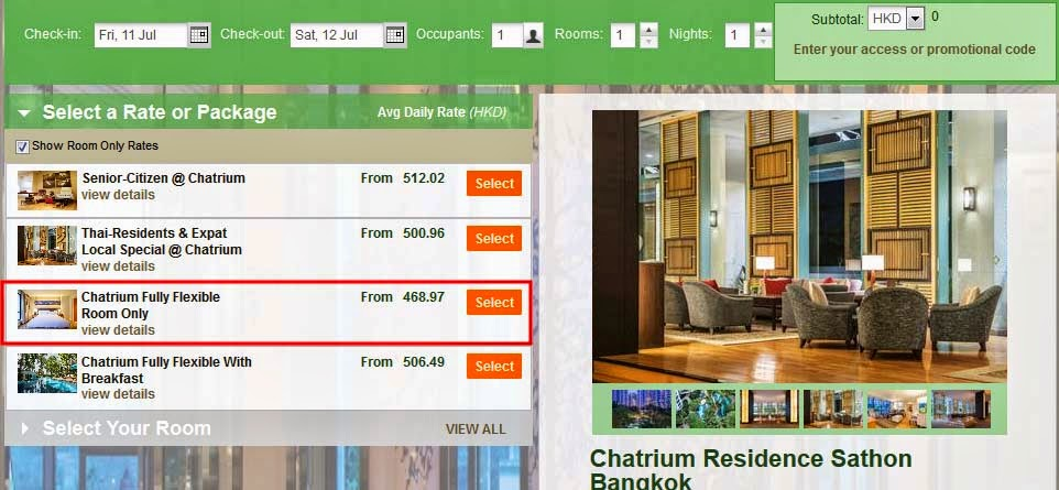 Chatrium Fully Flexible Room Only