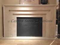Mitered St. Croix Valley Limestone Fireplace Surround
