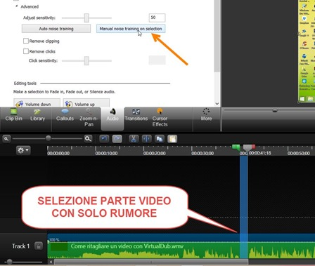selezionare-parte-filmato-rumore