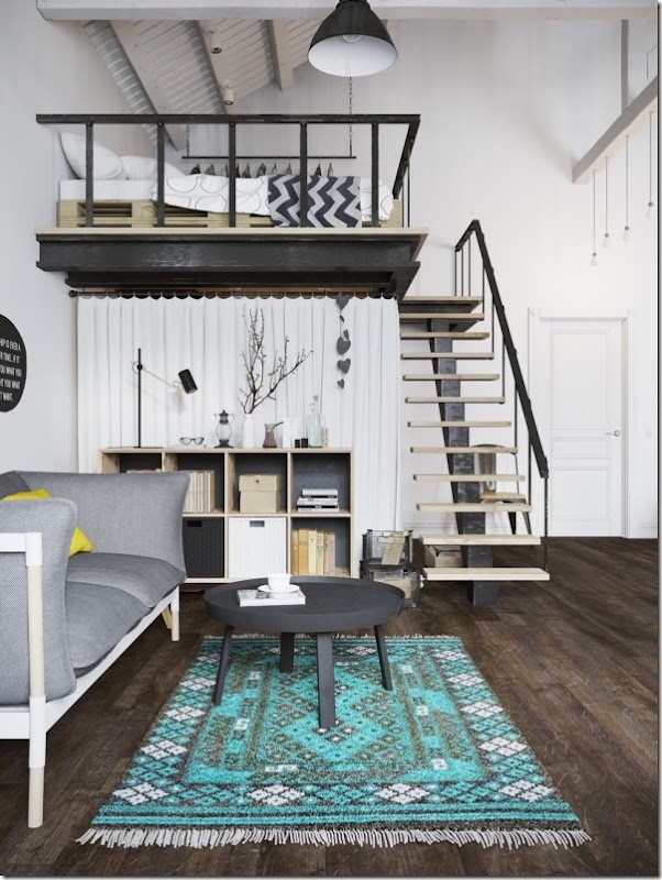 case e inetrni - mini loft praga - stile scandinavo (7)