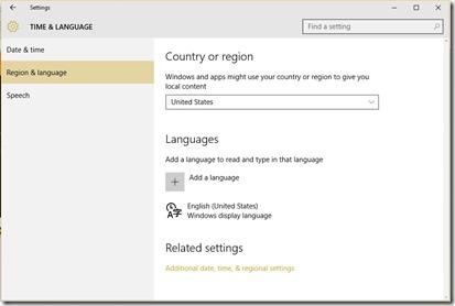 settings region