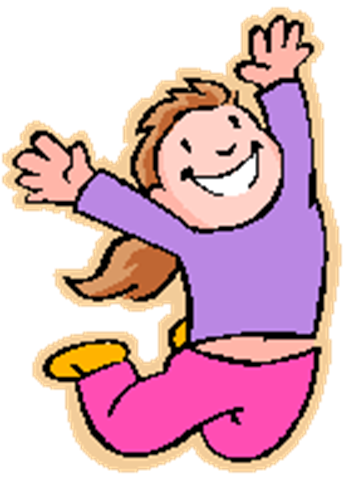 girl with purple top jumping for joy