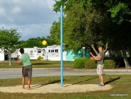 Playing tetherball