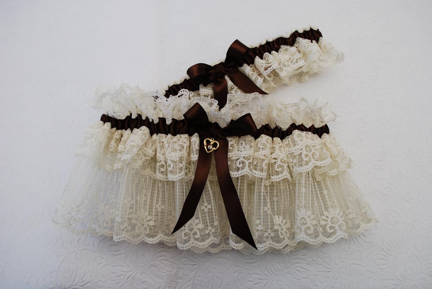 Wedding Garter Set - Ivory Lace and Brown Satin Ribbon with Charm