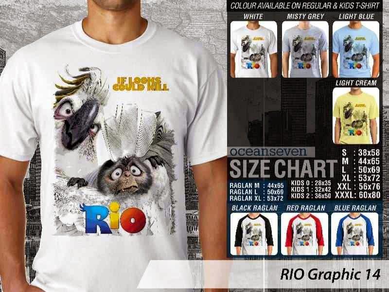 Kaos Film Animasi Lucu Desain RIO Graphic 14 distro ocean seven