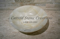 "D17 x H6"" Unrimmed Vessel Sink Polished White Onyx."