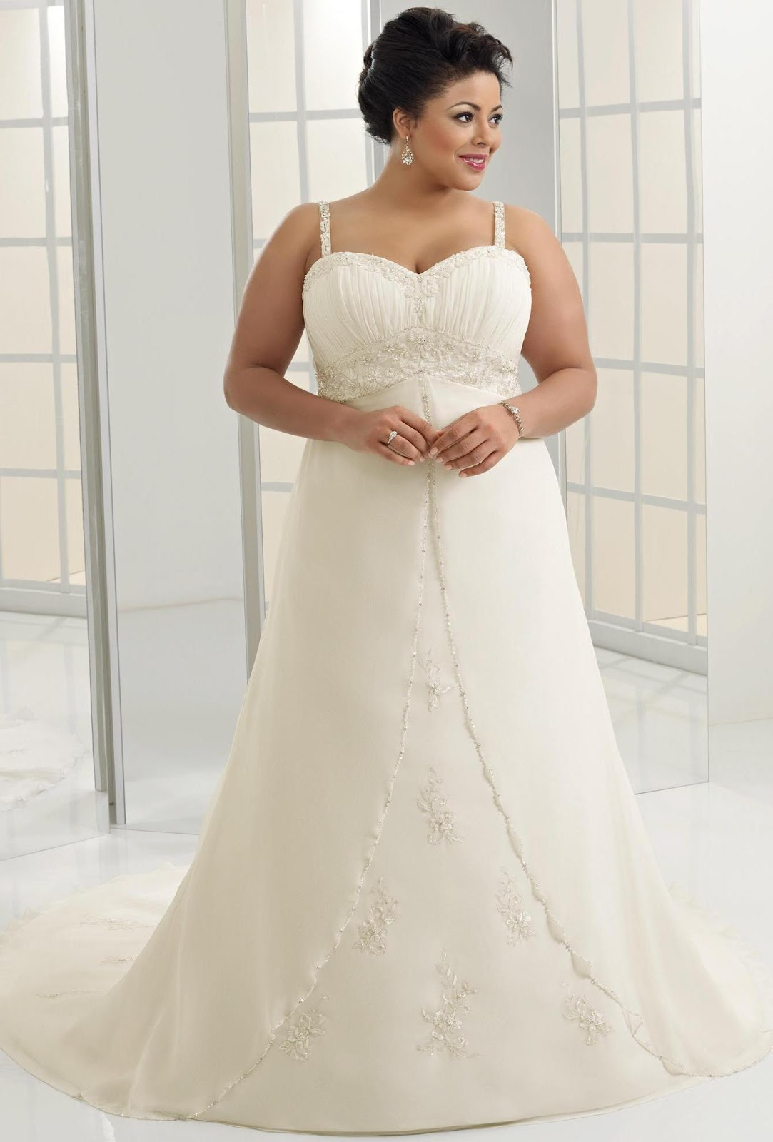 Discount Ivory Sweetheart Natural Waist Plus Size Bridal Dresses