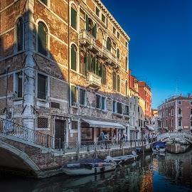 Fondamente dei Frari by Ole Steffensen - City,  Street & Park  Street Scenes ( venezia, boats, street, venice, bridge, fondamente dei frari, canal, italy )