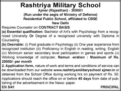 Rashtriya Military School - www.indgovtjobs.in