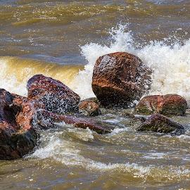 Crashing Waves by Dave Lipchen - Nature Up Close Rock & Stone ( waves, rocks )