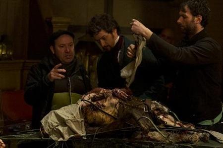Director McGuigan and James McAvoy in Victor Frankenstein