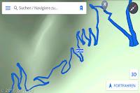 Ein Screenshot meiner Navi-App. Durch das Via Valle dei Molini und auf der Monte Baldo-Höhenstraße hoch zum Monte Altissimo.