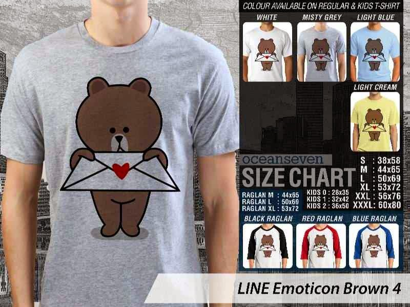 KAOS IT LINE Emoticon Brown 4 Social Media Chating distro ocean seven