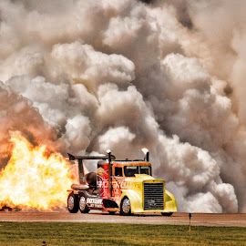 Shockwave by John Nelson - Transportation Other ( cloud, yellow truck, truck, flames, shockwave )