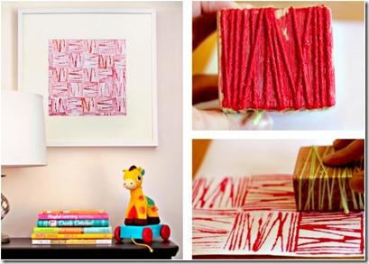 si lo que nos apetece para decorar es un cuadro mosaico lo podemos hacer usando un sencillo sello casero en un trozo de madera pegamos cuerda a distintas