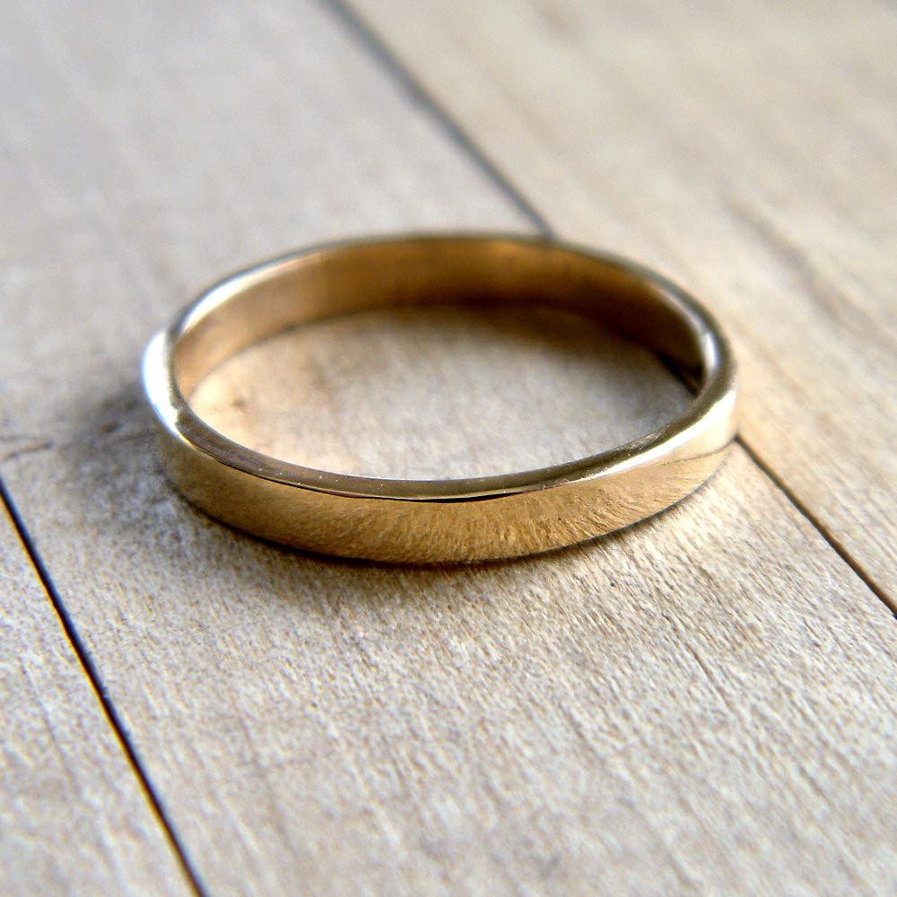 Gold Wedding Band, 2.5mm Slim
