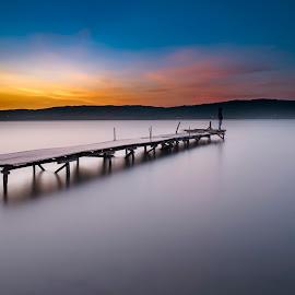 Alone by Selçuk Gülen - Buildings & Architecture Bridges & Suspended Structures ( sunset, pier, lake, long exposure, turkey, nikon, alone )
