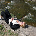 my mom resting at Webster's Falls in Ontario, Canada in Dundas, Ontario, Canada