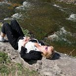 my mom resting at Webster's Falls in Ontario, Canada in Dundas, Ontario, Canada