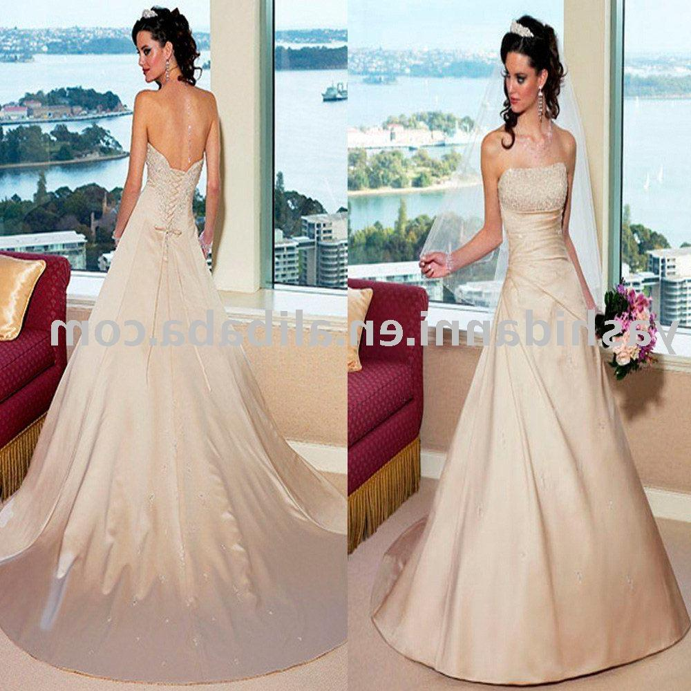 long train ball gown backless 2011 Fashion simple wedding dress