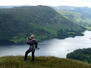 Maggie in action with Ullswater below.