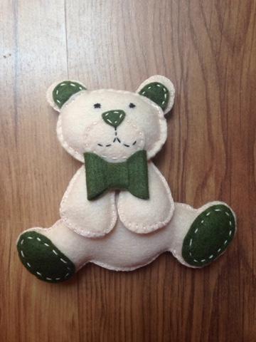 Urso em Feltro, Lembrancinha Infantil, Urso, Urso com verde