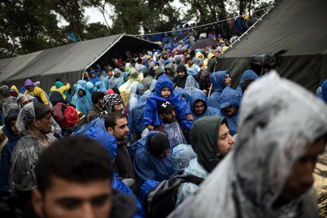 Migrants wait to enter Croatia as they wait near the western Serbian border village of Berkasovo, on 19 October 2015. Photo: Andrej Isakovic / AFP Photo