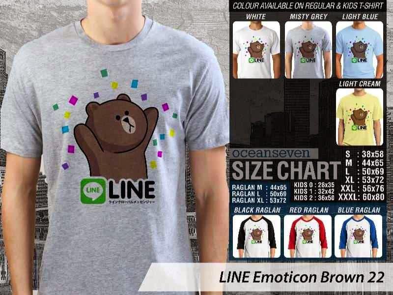 KAOS IT LINE Emoticon Brown 22 Social Media Chating distro ocean seven
