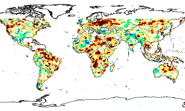 This map from the University of California - Irvine's Global Integrated Drought Monitoring and Prediction System shows the state of drought around the world in August 2015. The dark brown patches indicate areas of exceptional drought, through to patches of dark blue showing areas of exceptional wetness. Photo: UC Irvine