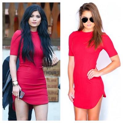 Kylie Jenner in H&M Red Curve Hem Mini Dress