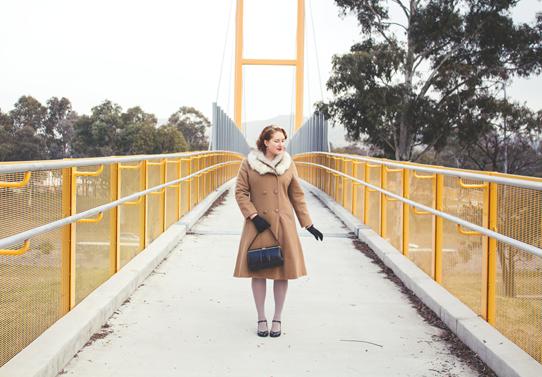 A warm 1950's caramel wool coat look | Lavender & Twill