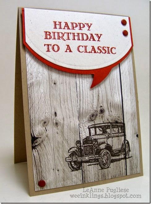 LeAnne Pugliese WeeInklings Guy Greetings Classic Car Birthday Stampin Up