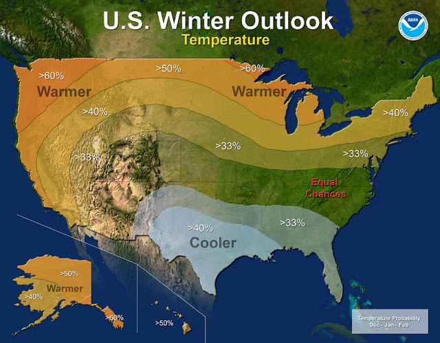 Temperature - U.S. Winter Outlook: 2015-2016.  Click for larger view. (NOAA)