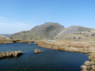 Great Gable from a pool on Seathwaite Fell.