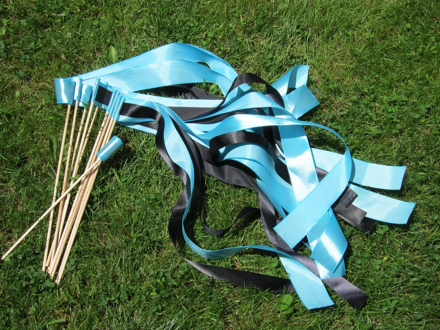 10 Blue and Black Ribbon Wedding Wands. From AmoriciLove