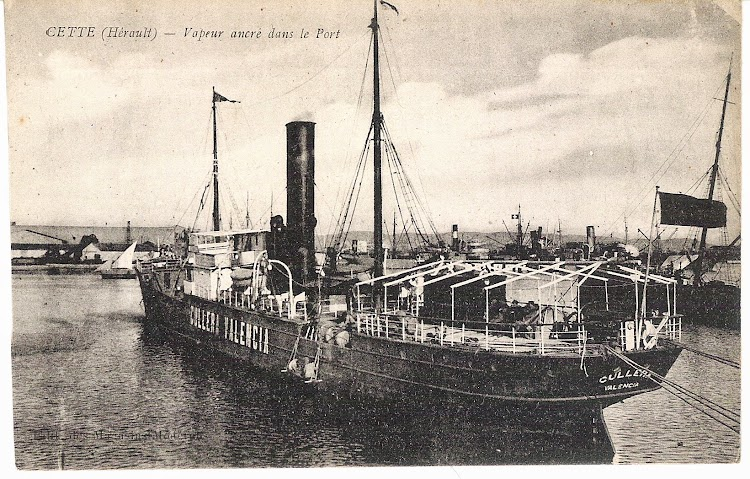 Postal del CULLERA. Ca. 1915.Puerto de Cette. Colección Jaume Cifre Sánchez. Nuestro agradecimiento.jpg
