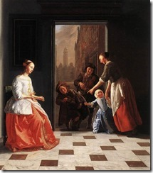 Street Musicians at the Doorway of a House
