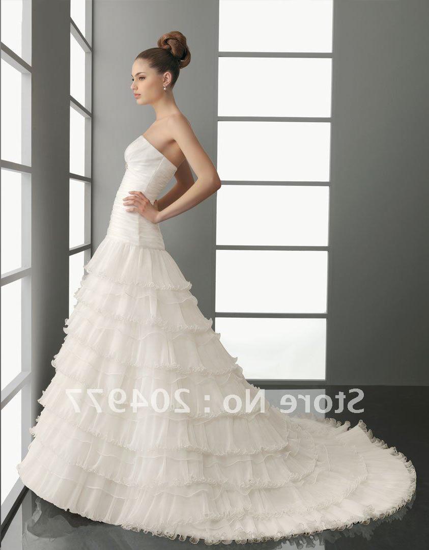 Free Shipping AA-65 Cascading Ruffle Wedding Dress With Organza.