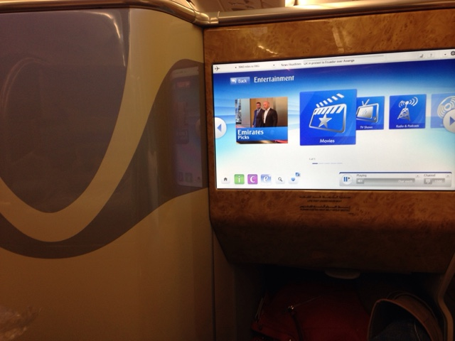 In flight entertainment system in business class of an Emirates Airbus 380