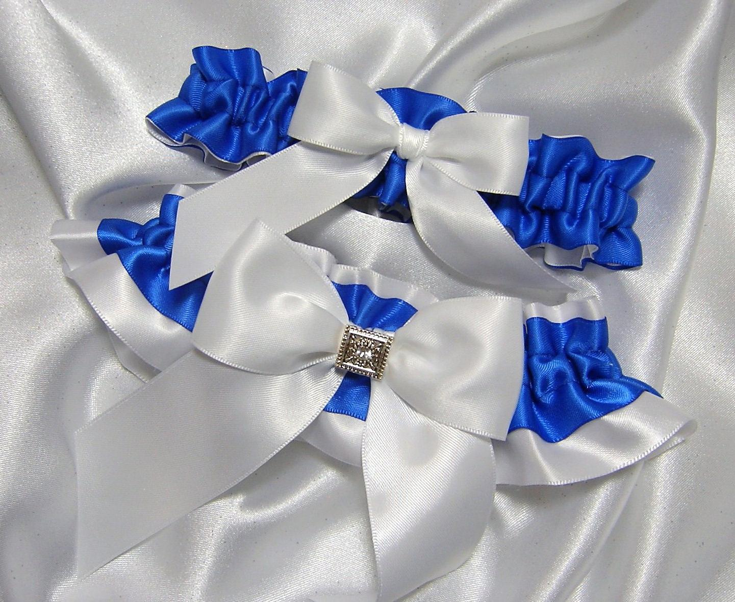 Royal Blue and White Satin